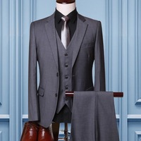 Изготовление под заказ Мужские Костюмы цвет синий, черный; Большие размеры 34–43 серый красный шерсть трех частей Две кнопки Корейский костю