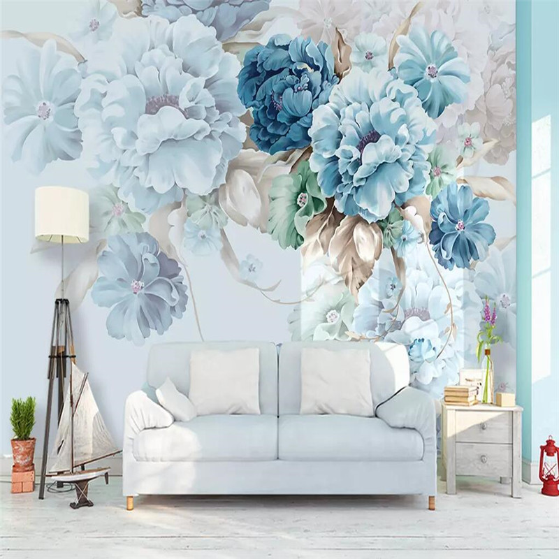 Nordic fresh hand-painted peony flower garden living room TV background wall custom wallpaper mural custom nordic simple dandelion hand painted floral background wall paper decorative painting factory wholesale wallpaper mural c