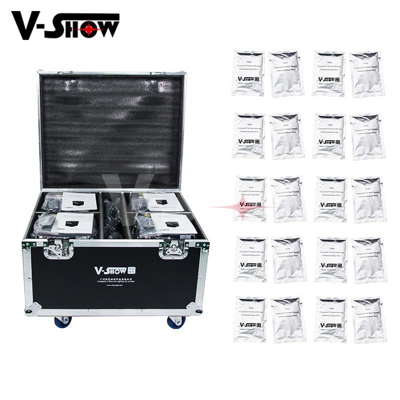 4 piezas el caso y 20 bolsas en polvo 400 W frío chispa fuegos artificiales máquina para efecto de etapa Dmx y control remoto sin Humo fuente para la boda