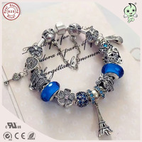 Hot Sale Top Quality Famous Brand Luxuxious Shinning Blue Silver Charm Series 925 Real Silver Mutiple Charms Bracelet
