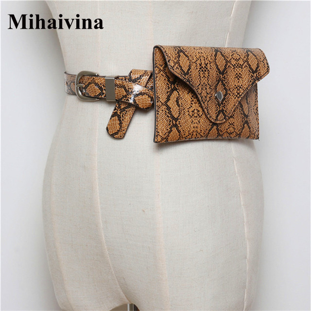 Mihaivina Design Waist Bags Fanny Pack For Women High-end Leather Serpentine Lady Belt Bags Vintage Phone Bag Handy Bum Bag