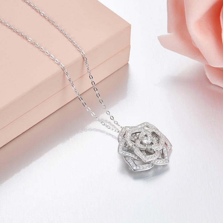 ZOZIRI nouveau design classique rose fleurs pendentif collier pour les femmes beauté rose fleurs collier brillant 925 bijoux en argent sterling