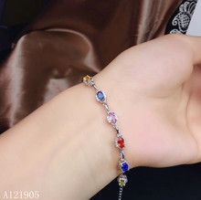 KJJEAXCMY boutique jewelry 925 sterling silver inlaid natural multicolor sapphire female luxury bracelet support detection luxurious natural sri lanka sapphire bracelet 2 ct natural blue sapphire gemstone bracelet solid 925 sterling silver bracelet
