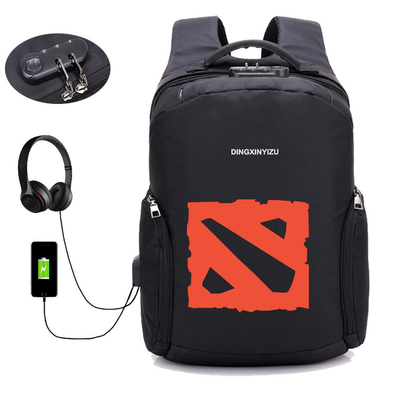 Game Dota 2 backpack Men Business Backpacks USB Charging Anti theft Backpack Teenagers student bookbag Laptop Bag travel package-in Backpacks from Luggage & Bags    1