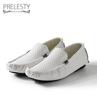 Prelesty Big Size 38-47 Autumn Mens Luxury Driving Shoes Breathable Genuine Leather Flats Loafers Men Shoes Casual Slip On
