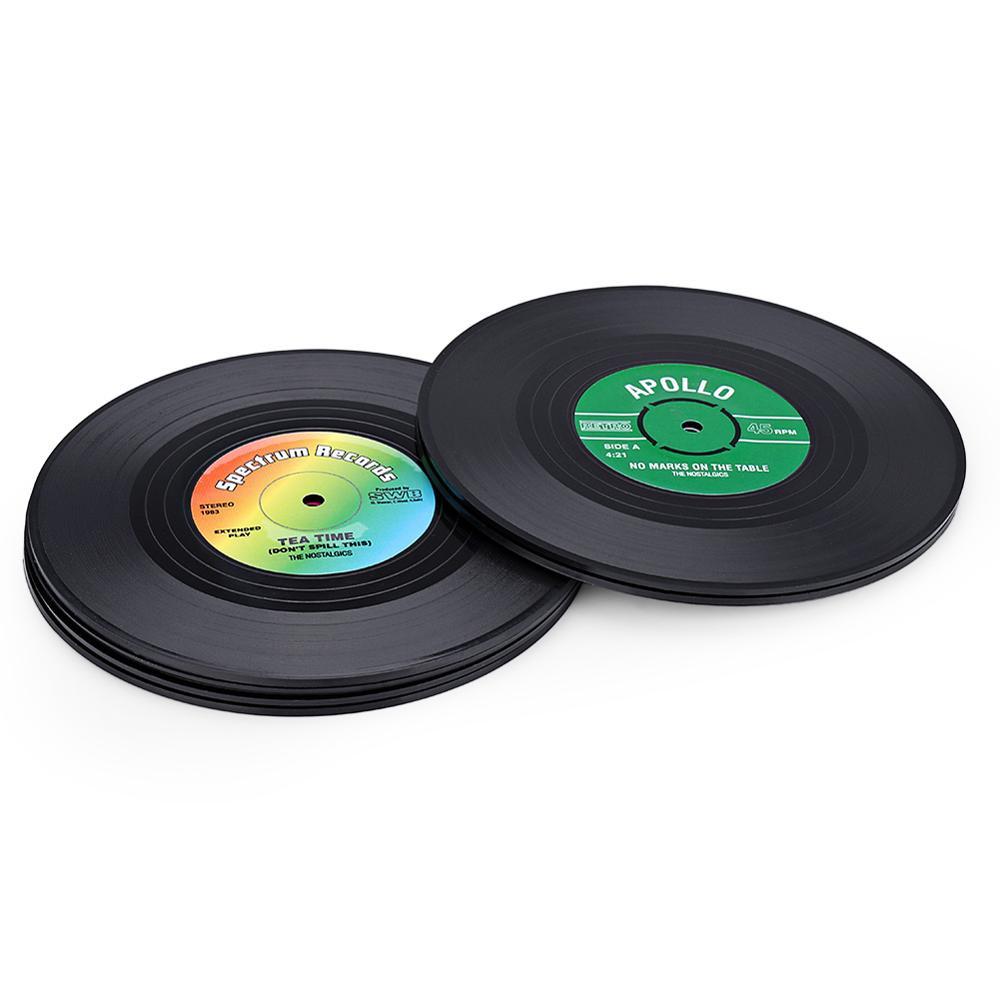Black Polyethylene Vinyl Record Insulation Green Non-slip Coaster 10.5cm-1 Set (6 Pieces)