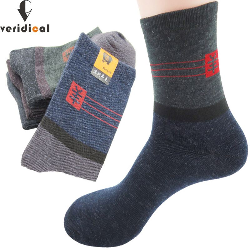 VERIDICAL 10 Pairs/lot Men Short Socks Cheap Formal Work Socks Imitation Wool Business Dress Socks Fit EU39-45 Free Shipping