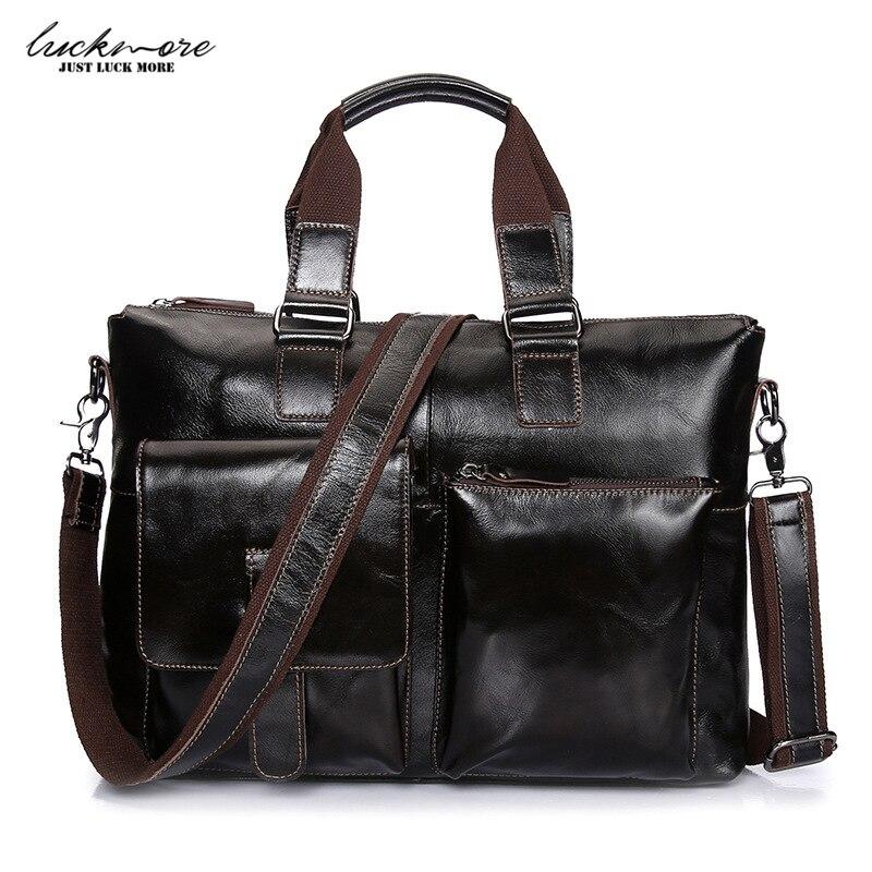 Genuine Leather Men Messenger Bags Brown Cowhide Man Crossbody Shoulder Bag Vintage Designer Handbags Laptop Bags High Quality