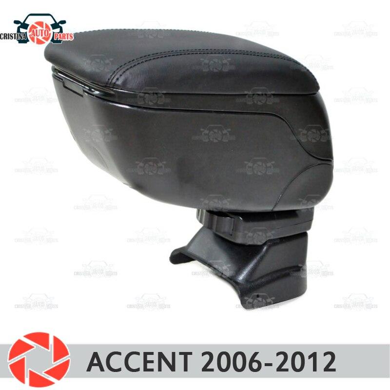 Para Hyundai Accent Tagaz 2006-Reposabrazos de coche consola central caja de almacenamiento de cuero Cenicero accesorios de estilo de coche