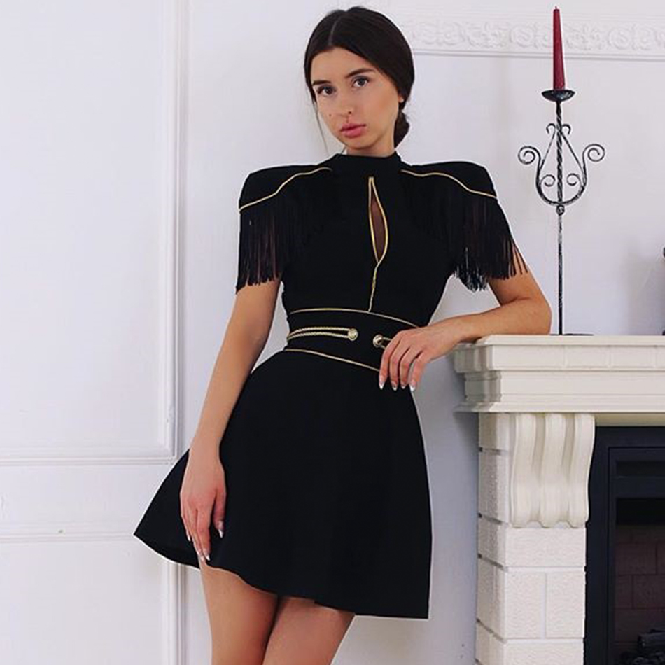 Adyce 2019 New Summer Women Elegant Bandage Dress Sexy Black Short Sleeve Tassel Mini Club Celebrity