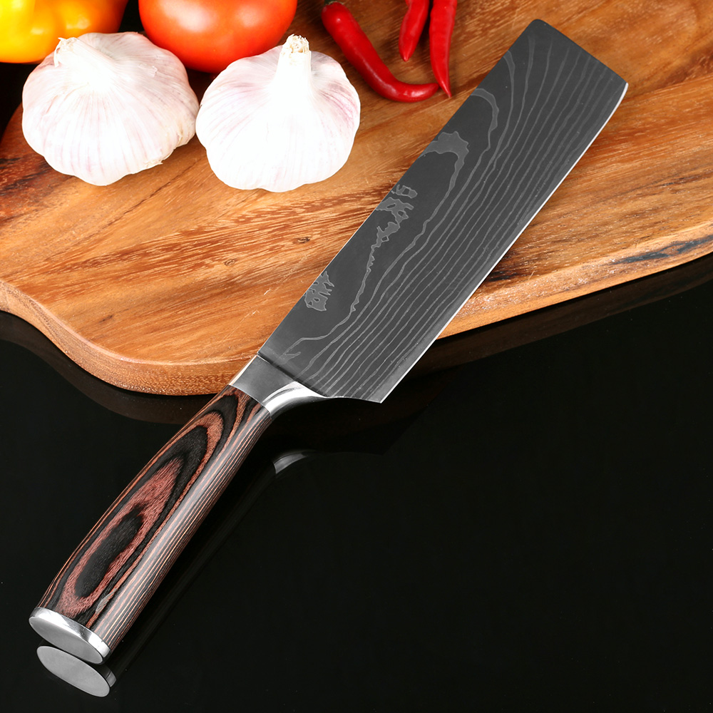 XITUO New Design 7''Japanese Santoku Chef knife Stainless Steel Imitate Damascus Pattern Kitchen Knife Cleaver Filleting Knives