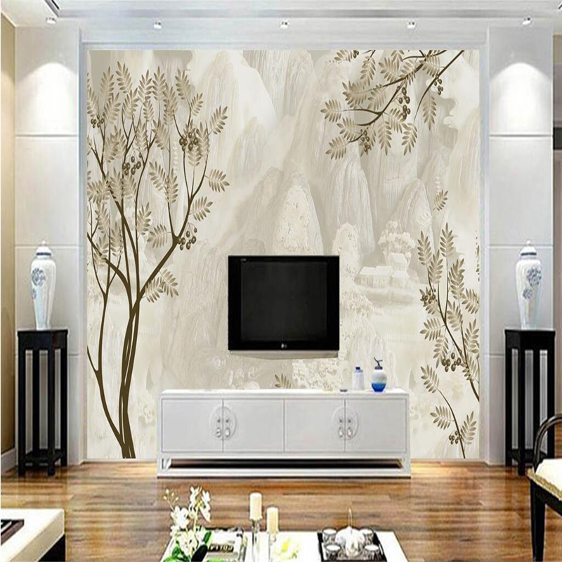 Modern Creative 3D Wallpapers for Living Room Home Decor Wall Murals Wallpapers Marble Light Grey Tree Photo Wall Papers Nature circle mirror photo wallpapers 3d modern abstract murals wall papers home decor wallpapers for living room wall paste wall mural