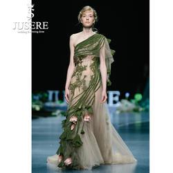 JUSERE 2019 SS модное шоу Зеленое Длинное платье для выпускного вечера с вышивкой, кружевное платье на одно плечо для выпускного вечера es платье