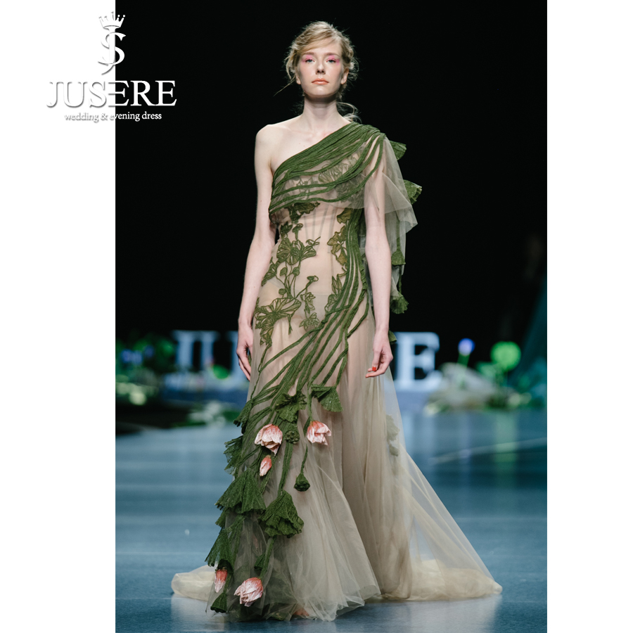 JUSERE 2019 SS FASHION SHOW Green Long   Prom     Dress   Embroidery Lace One Shoulder   Prom     Dresses     Dress   Robe De Soiree Formal Gowns