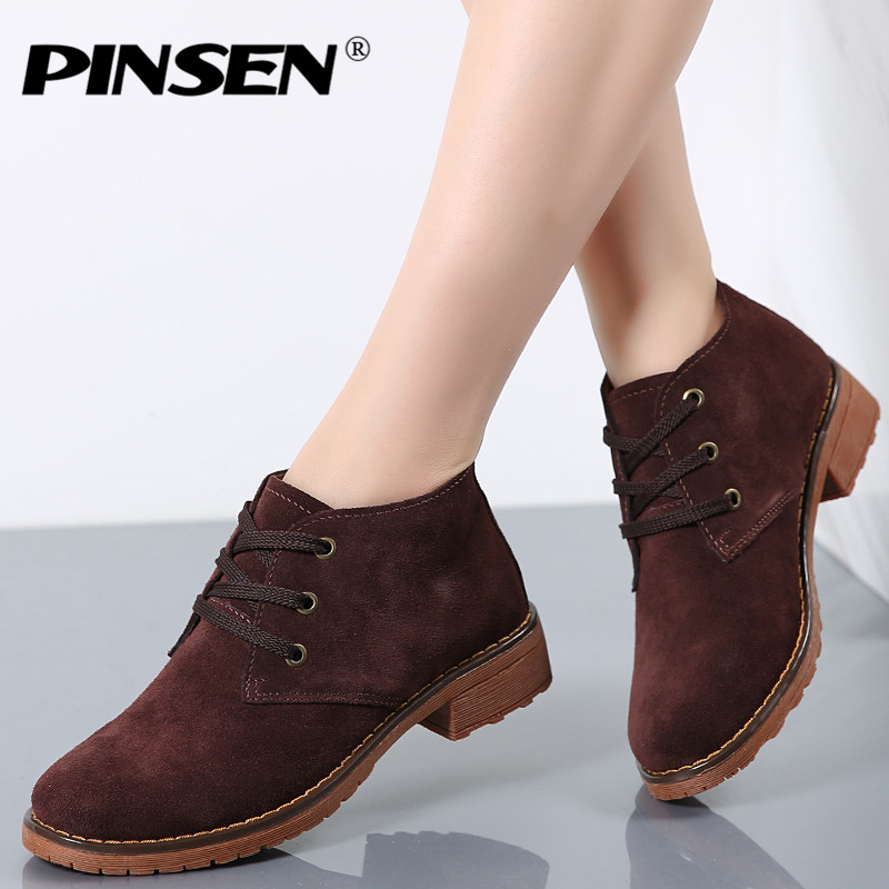 PINSEN 2019 Autumn Women Leather Ankle Boots Women Suede Leather Motorcycle Boots Flat Heeled Boots Ladies Casual Snow Boots