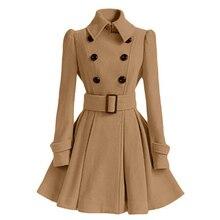Зимние Для женщин пальто длинный тонкий Повседневное теплые с лацканами Верхняя одежда куртка ветровка