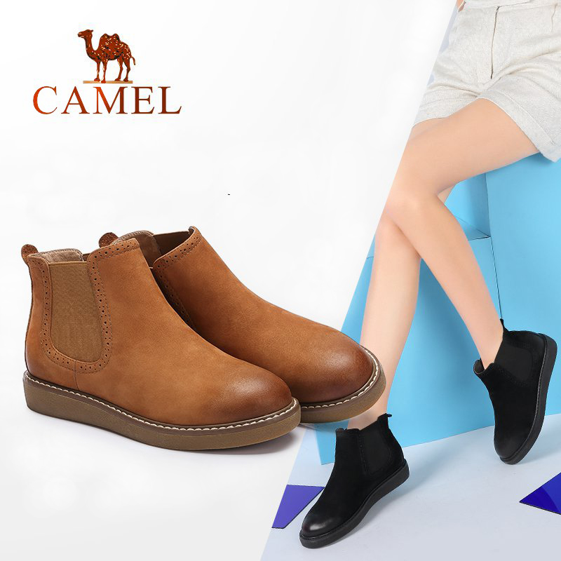 CAMEL 2018 Women Leather Boots Short Boots Shoes Women Simple Casual Ankle Flat Heel Non-slip Shoes Ladies Boots casual metal and flat heel design short boots for women
