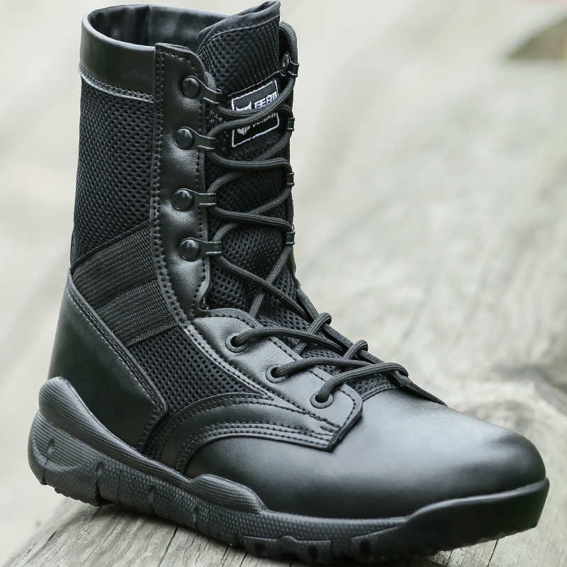 0973b431e3c Spring Summer Military Boots Men Breathable Mesh Lightweight Combat Boots  Comfortale Soft Work Shoes Casual City Basic Boots Men