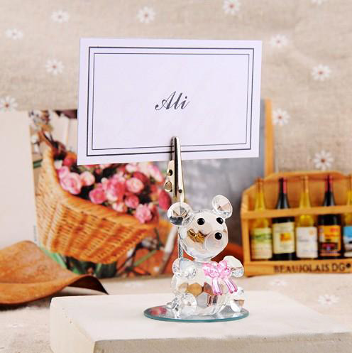 K9 Crystal bear place card holder with bow tie Creative wedding decoration products New arrivel