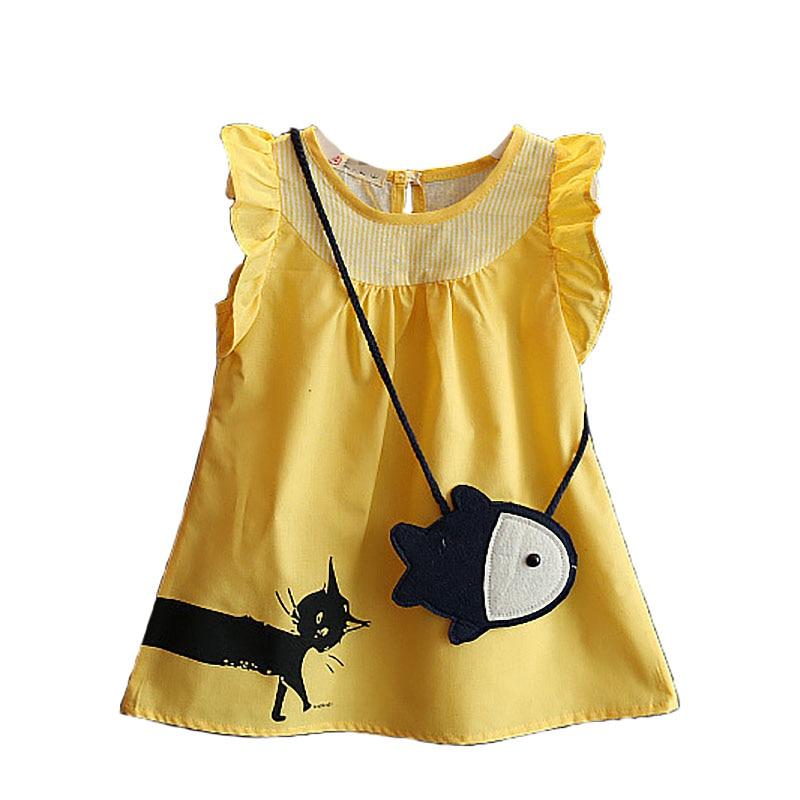 Crianças de verão Meninas Vestido Saco de Captura de Peixe Gato Dos Desenhos Animados Crianças Marca Vestido Sem Mangas casual festa a fantasia da menina roupa Do Bebê BC1170