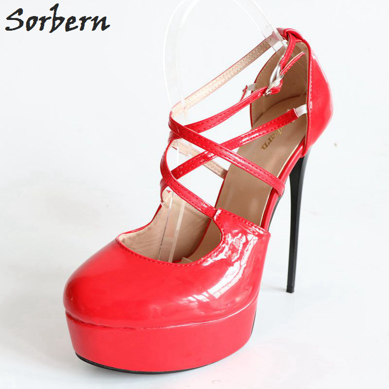 5d1596990a7 Sorbern Sexy Red Women Pumps Cross Straps Platform Shoes Ladies Stilettos  High Heels Pointed Toe Night