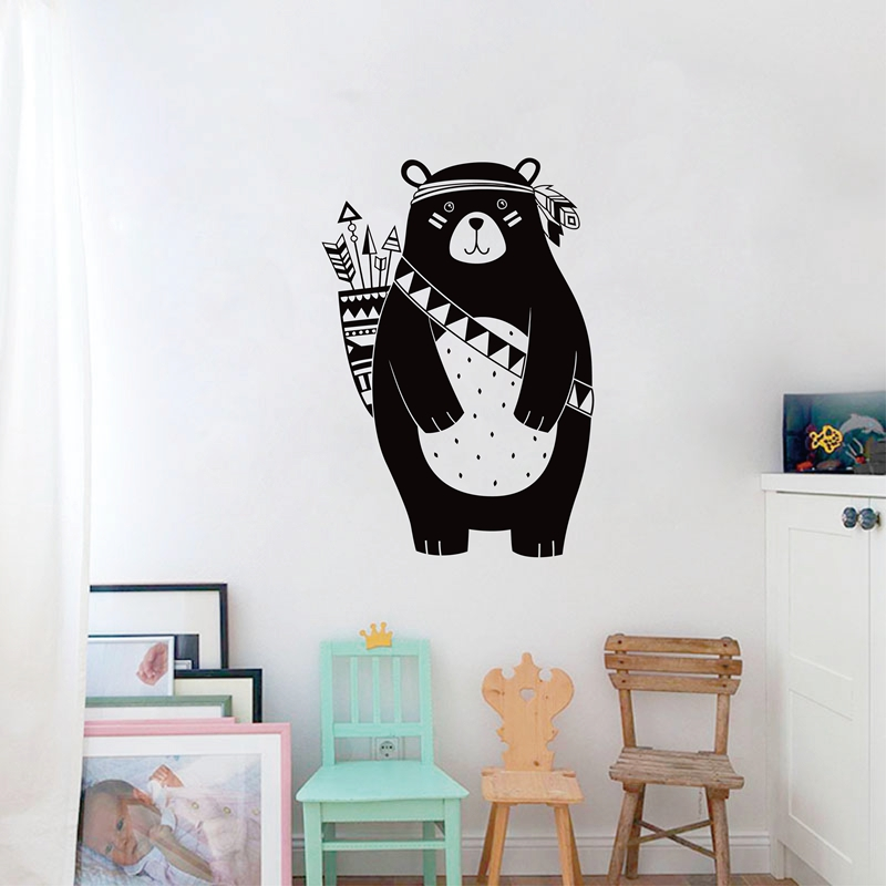 Free Shipping Tribal Bear Wall Decal Woodland Animal Sticker For Kids Room Nursery Home Decoration