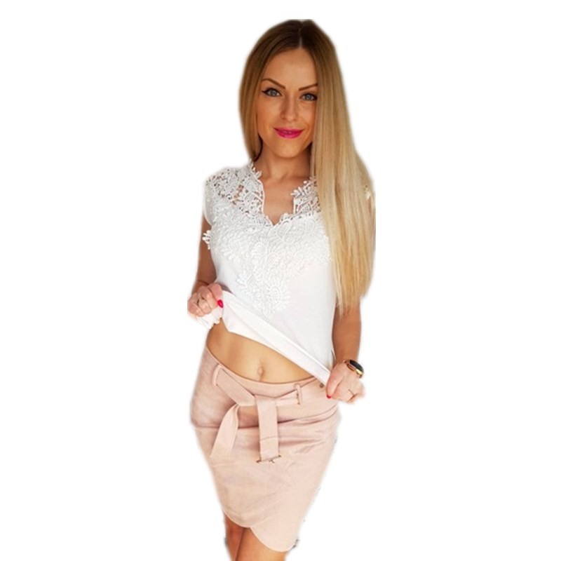 Summer Lace Tank Top Women Sleeveless Slim Casual Vest Tops V Neck Shirt White Female Summer Tees(China)