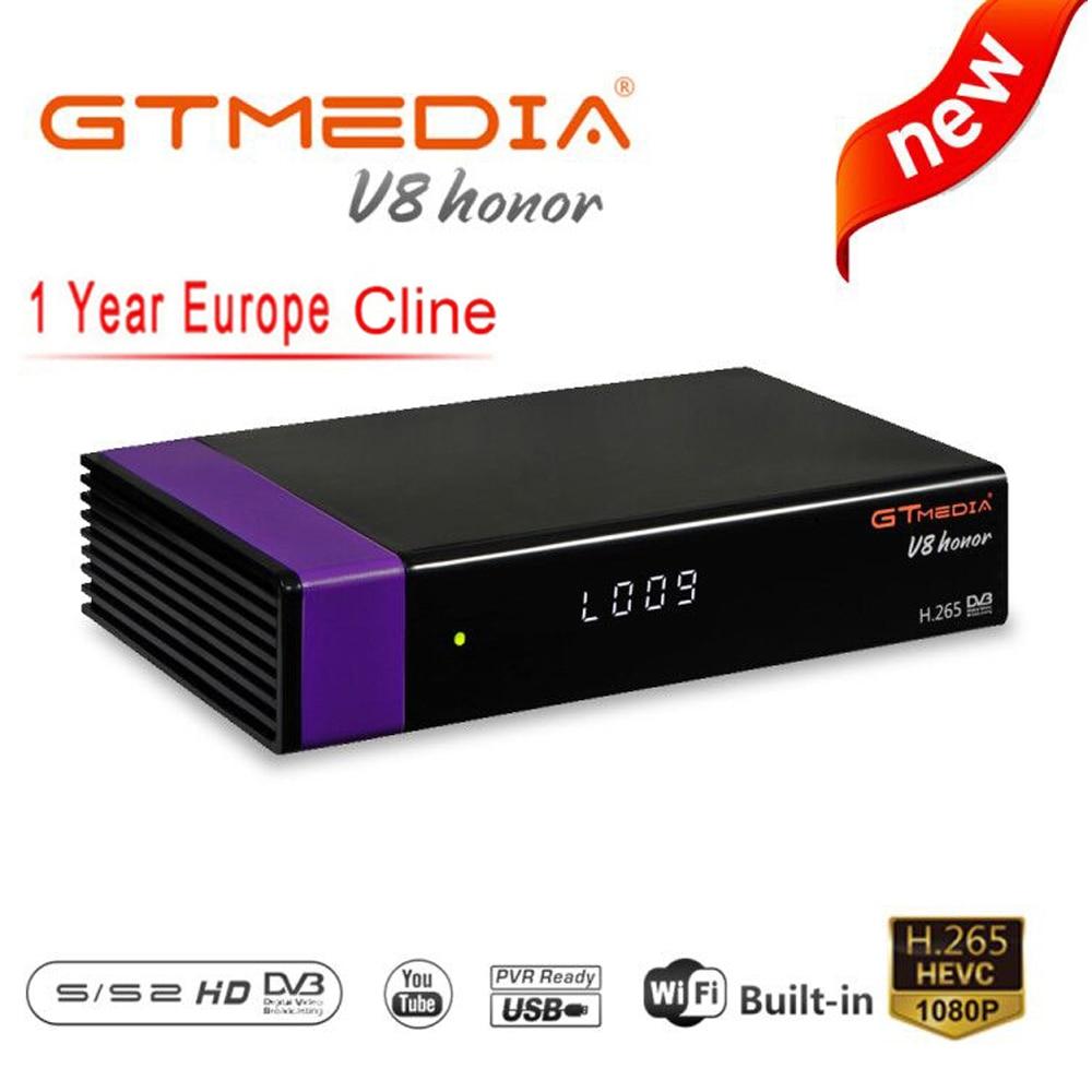 GT MEDIA V8 Honor DVB-S2 Freesat Satellite TV Receiver FTA Decoder Support PowerVu Biss Key Newca CCCAM Youtube HD PVR Receiver title=
