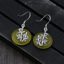 Real 925 Sterling Silver Drop Earrings Yellow Jade Stone Bamboo Leaf Dangle For Women Handmade Fine Quality Jewelry