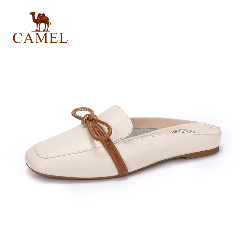 CAMEL New Fashion Casual Women Sliders Single Shoes Women Genuine Soft Leather Low Flat Outdoor Leisure