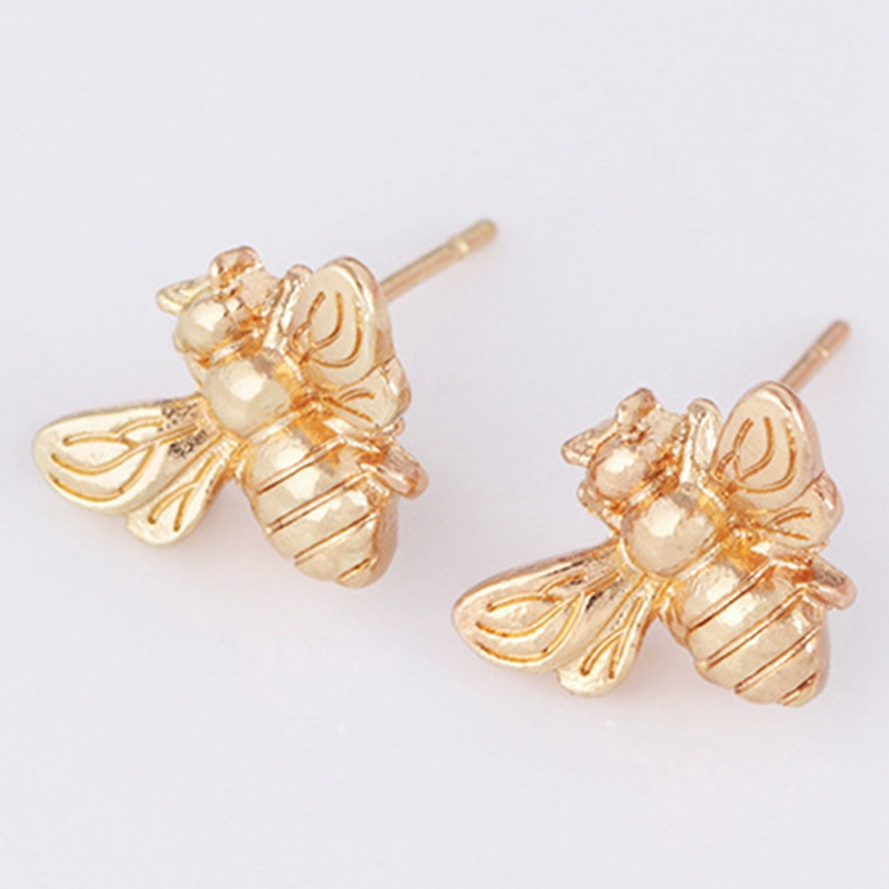 Amiable 2018 New 1pair Cute Silver/gold Color Honey Bee Earrings Tiny Fashion Stud Earrings Insect Fly Bird Honey Cute Creative Earrings Attractive Designs;