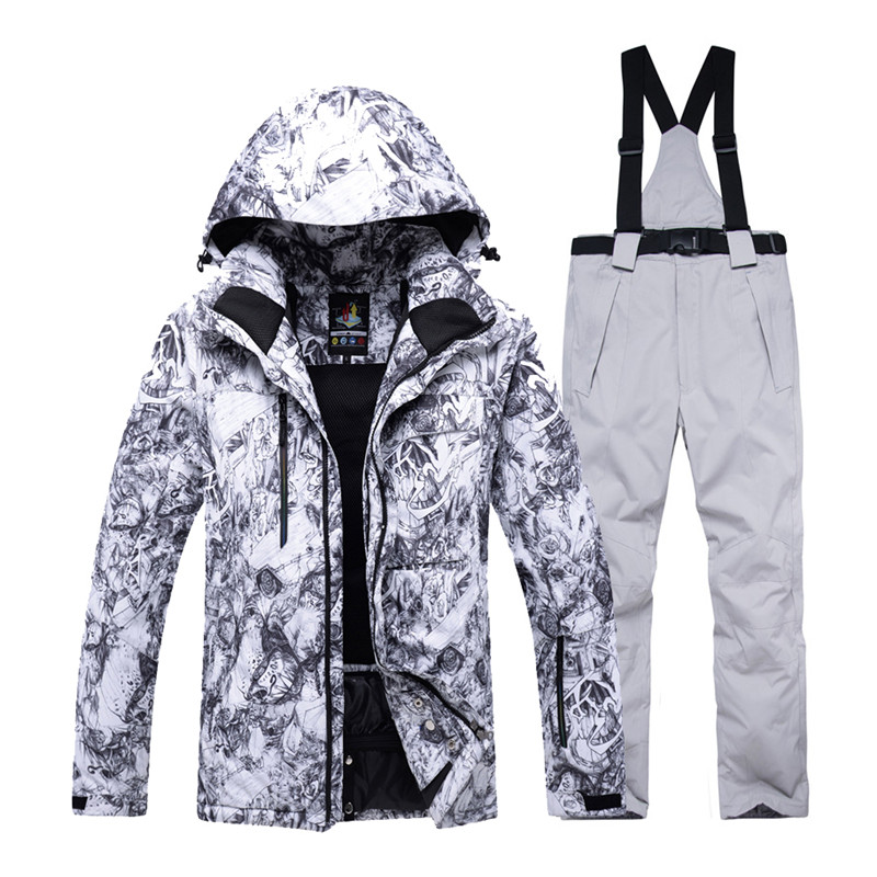 -30 Men Snow Custome specialty snowboarding sets Waterproof windproof sportswear gear Skiing suit sets Snow jacket and bibs pant new men snow clothes skiing suit sets specialty snowboarding sets waterproof windproof winter sports snow jackets and pants