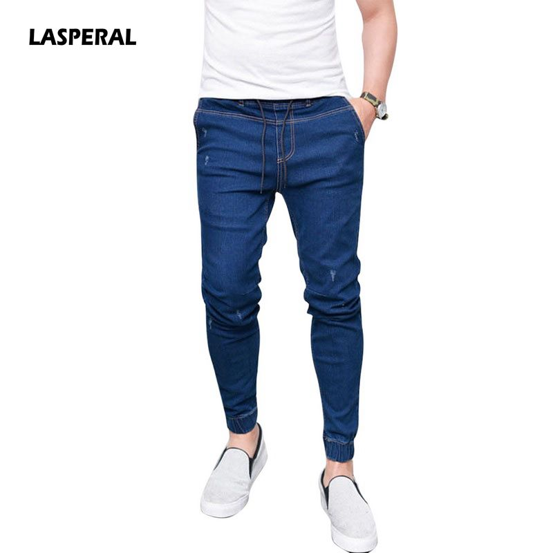 Lasperal New Summer Spring Long Pencil Pants Casual Slim Jeans Mens Brands Fit Slim Trousers Elastic Waist Male Pantalones