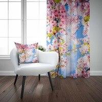 Céu azul rosa branco flores árvore primavera 3d impressão sala de estar quarto janela painel cortina combinar presente travesseiro caso