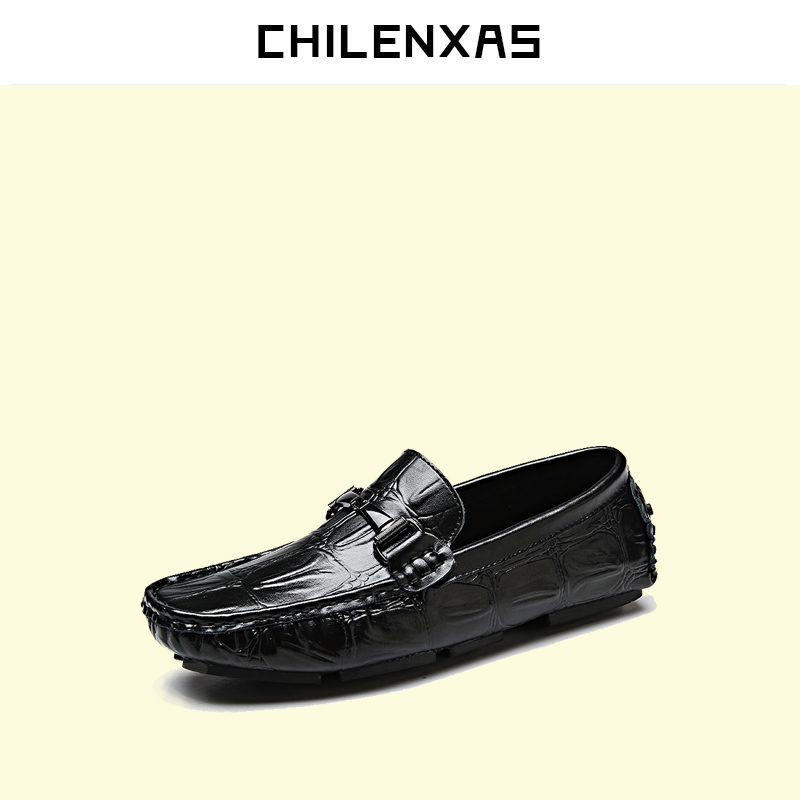 CHILENXAS  2017 Spring Autumn Genuine leather flat shoes comfortable moccasins men casual fashion loafers large size breathable cbjsho brand men shoes 2017 new genuine leather moccasins comfortable men loafers luxury men s flats men casual shoes