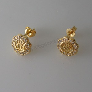 Image 4 - Минимальный заказ 10 $ можно смешивать/3 стиля милые мусульманские Бог цветок растение форма желтое золото Серьги GP CZ камень Ислам Арабский