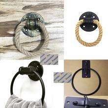 Ретро черная бронза железная труба Фланец База дверное Кольцо Молоток Потяните ручку пеньковая веревка настенное крепление полотенце кольцо