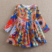 NEATbaby Girl Long Sleeve Dress Fashion Multicolor Pattern Pattern Clear Bright Girl Party Dress Comfortable Autumn