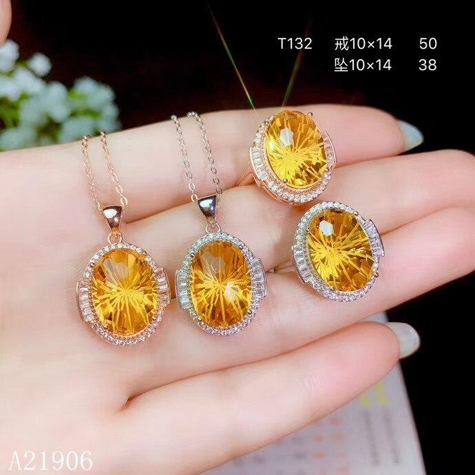 KJJEAXCMY boutique bijoux 925 argent sterling incrusté citrine femelle bague collier pendentif ensemble nouveau