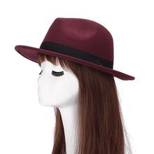 9d93b04f7c5560 Women Men Fedoras Vintage Wool Blend Decors Winter Flat Wide Brim Bowler Hat  Cap Gift(. 8 Colors Available