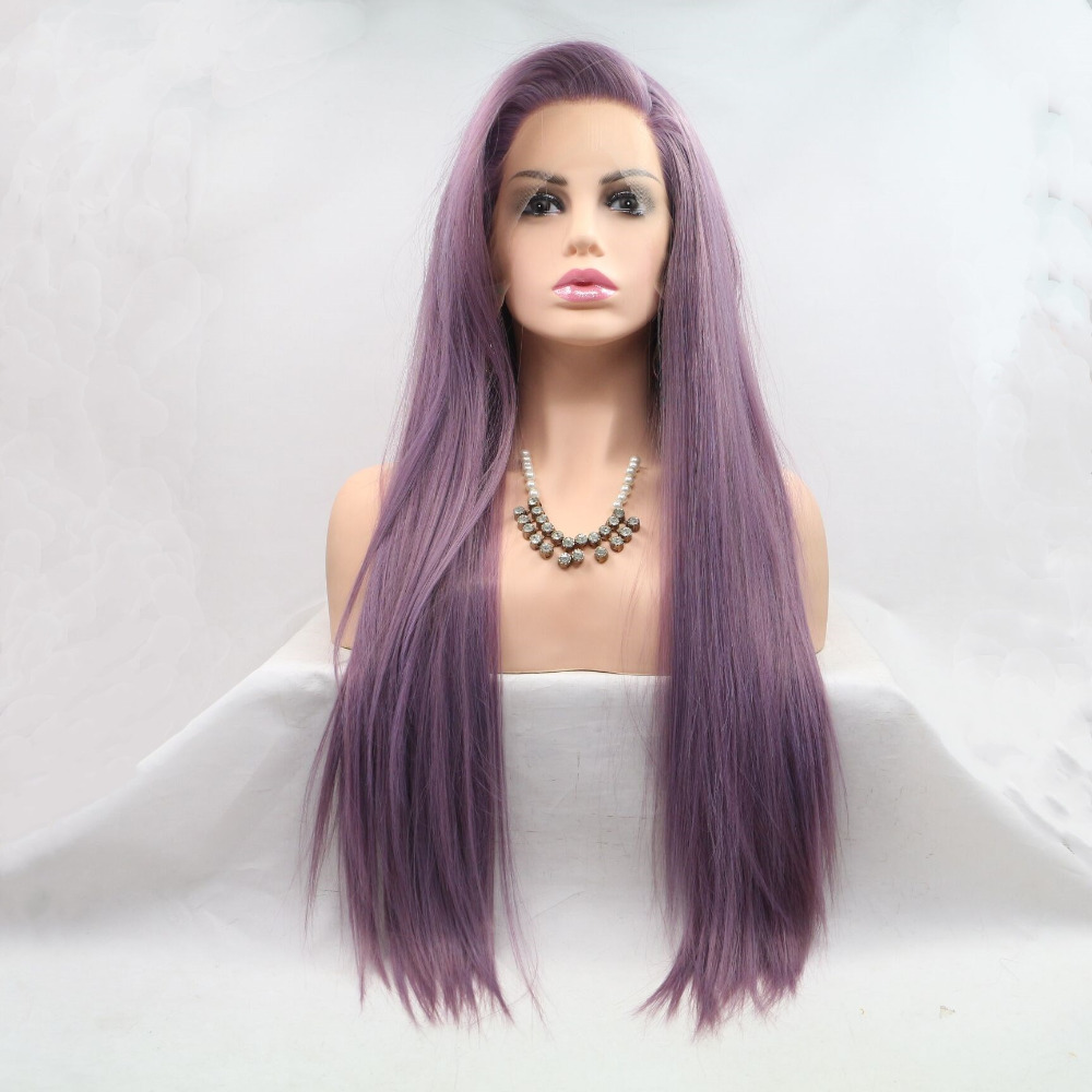 Marquesha Realistic Looking Long Straight Lavender Purple Heat Resistant Fiber Synthetic Lace Front Wigs For Women(China)
