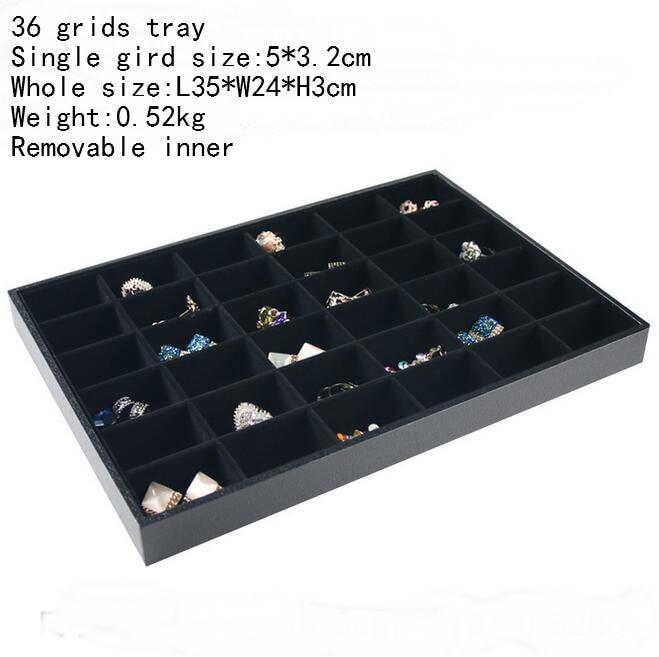 Купить с кэшбэком PU Frame Edage and Wrapped Velvet Jewelry tray Rings Box Earrings Case Necklaces Storage Pendats Holder Bracelets Stand