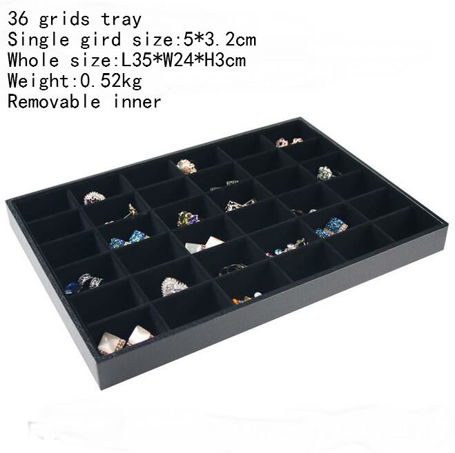 PU Frame Edage and Wrapped Velvet Jewelry tray Rings Box Earrings Case Necklaces Storage Pendats Holder Bracelets Stand in Jewelry Packaging Display from Jewelry Accessories