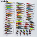 Htdob 56 шт.  набор наживки для смешанной рыбалки  воблер  Crankbait  Swimbait с тройным крючком  морские рыболовные инструменты  Прямая поставка