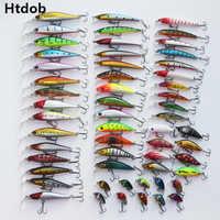 Htdob 56 Pcs Mixed Fishing Lure Bait Set Kit Wobbler Crankbait Swimbait With Treble Hook Sea Fishing Tools pesca  Drop shipping