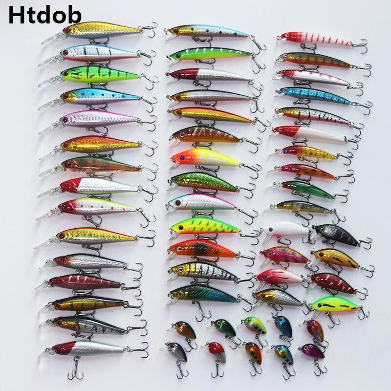 Htdob 56 pçs kit conjunto de isca de pesca mista wobbler crankbait swimbait com gancho agudos ferramentas pesca do mar transporte da gota