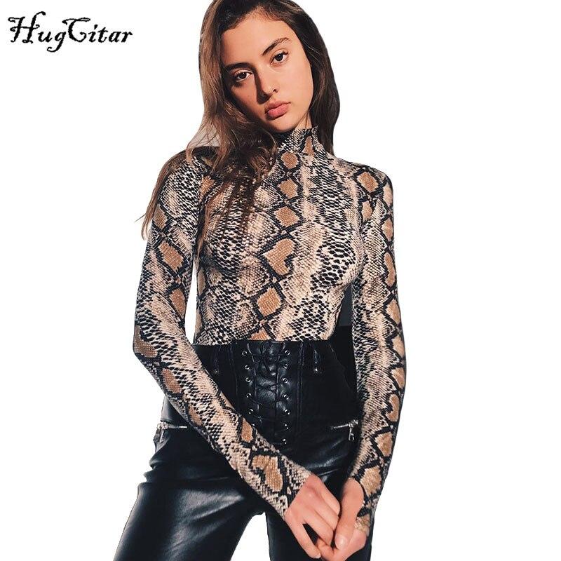 Body de cuello alto de manga larga con estampado de grano de piel de serpiente Hugcitar 2018 otoño para mujer moda de calle sexy Body de piel de serpiente