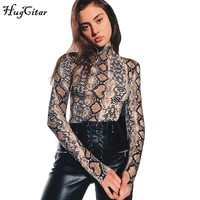 Hugcitar Snakeskin Grain Long Sleeve High Neck Bodysuits 2017 Autumn Women Street Fashion Sexy One Piece