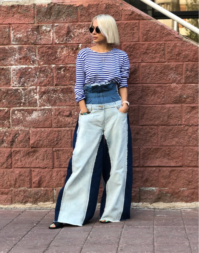 Spring Summer High Waist Loose Hit Color Denim Pocket Blue Long Wide Leg Jeans Women Trousers Fashion Tide photo review