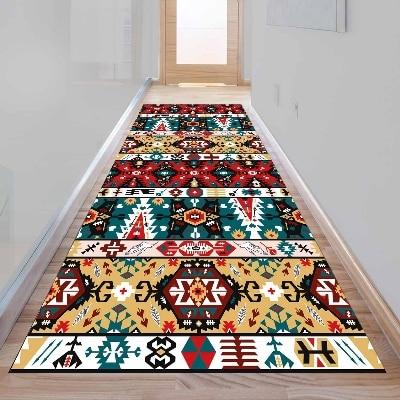 Else Retro Green Red Yellow Ottoman Design 3d Print Non Slip Microfiber Washable Long Runner Mat Floor Mat Rugs Hallway Carpets